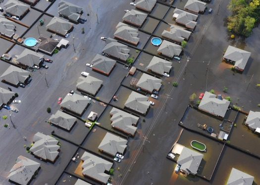 Flood homes city aerial vies