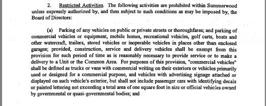 Summerwood HOA parking restrictions (capture May 17, 2018)