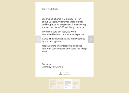 Chimney Hill Owners Association fomer owner letter