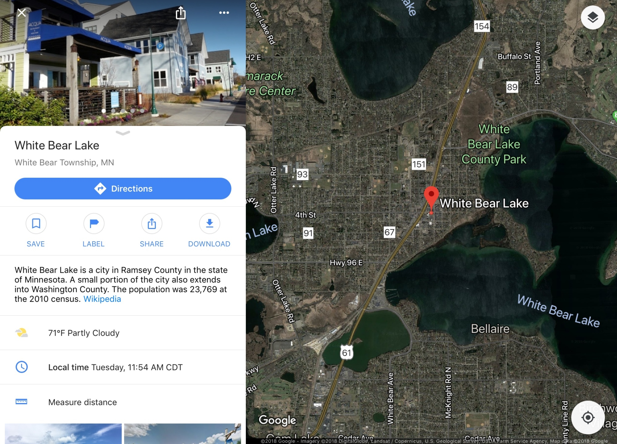 Google Maps image White Bear Lake Minnesota