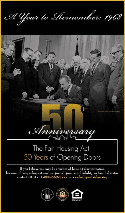 50th anniversary fair housing HUD poster